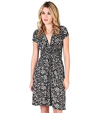 6610-CRMBLK-10: Printed Knot Front Short Dress