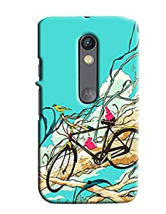 Blue Throat Bicycle Pattern Printed Designer Back Cover/ Case For Motorola Moto X Play