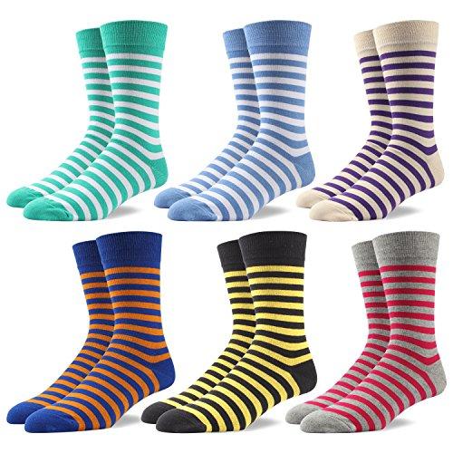 RioRiva Socken Herren - Fein Baumwoll - Bunte helle Streifen - Europäische Qualität - Mehrfachpack (BSK85-6 Paare Mehrfarbig, EU 41-46/UK 8-12)