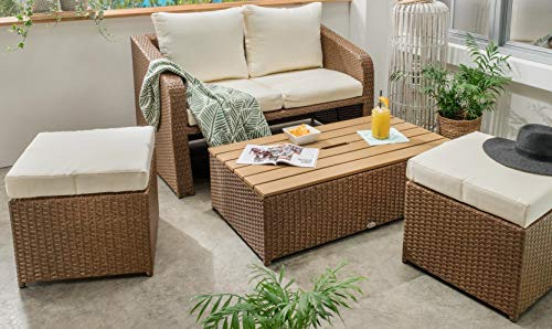 Destiny Lounge Jersey Gartenmöbelset Loungeset 4teilig Sitzgruppe Polyrattan (Bank Esszimmer Set)