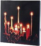 infactory Leinwandbild Weihnachten: LED-Leinwandbild Advent mit Kerzenflackern, Fernbedienung (LED Kerzenbild)