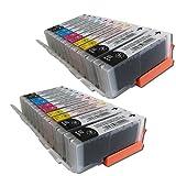 ESMOnline 20 XL Sparset komp Tintenpatronen für z.b. Canon Pixma MG5550 MX925 usw. 4 x Canon PGI-550BK CLI-551BK CLI-551C CLI-551M CLI-551Y XL