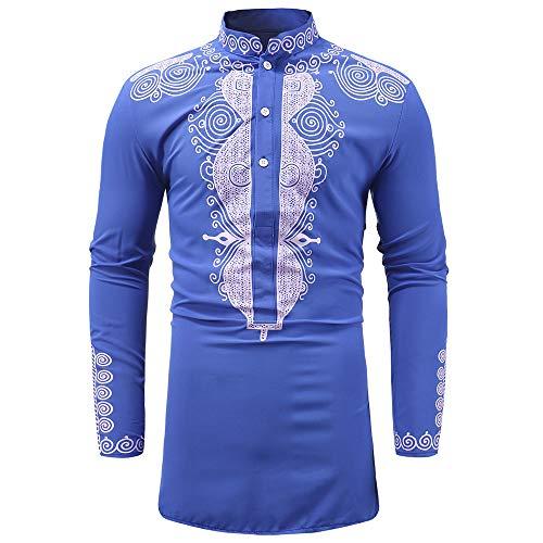 Makefortune Herren African Print Shirt Langarm Botton Down Freizeithemden Festival Bluse Tops mit Grand Kragen (Big Ten Shirt)