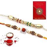 #9: Traditional Villa Jaipuri Ethnic Design Handcrafted Fancy Rakhi Pair Gift Rakhi For Bhaiya Bhabhi And Rakhi For Bhaiya Bhabhi Combo And Rakhi Gifts For Brother Rakhi Set Free Shipping+Roli+Chawal+Greeting Card !!-2Rgs270
