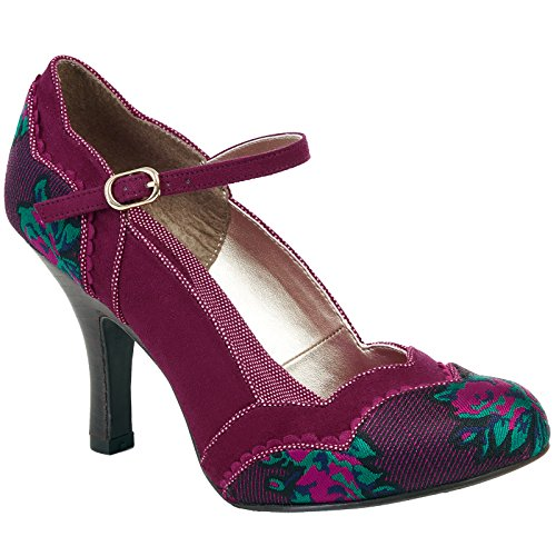 Ruby Shoo IMOGEN Vintage Floral Plum Riemchen Pin Up Heels PUMPS Rockabilly (39)