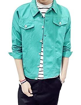 Chaqueta de Mezclilla Casual Abrigo Vaquera Manga Larga Jean Jacket Outwears para Hombre