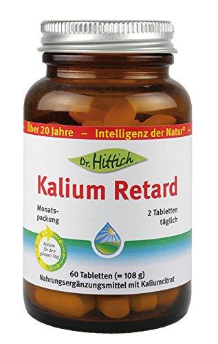 Kalium Retard - 30 Tabletten - Das Nahrungsergänzungsmittel Kalium Retard versorgt Sie mit nur zwei Tabletten pro Tag rund um die Uhr mit 900 mg Kalium - Von Dr. Hittich