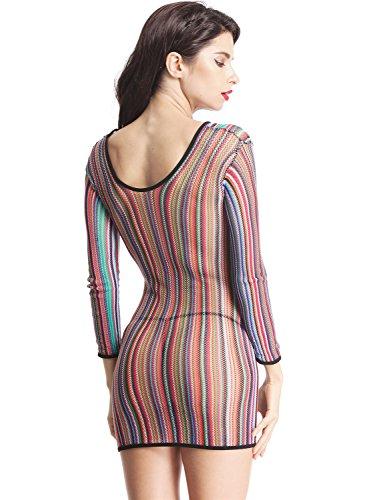 AMORETU Damen Dessous Mini Kleid Rainbow Gestreiften Sexy Fischnetz-Chemise Mehrfarbig A