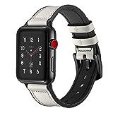 Kobwa Apple Uhrenarmband 42mm und 38mm, echte Leder iWatch Ersatz Band mit weichem Silikon für Apple Watch Serie 3Serie 2Serie 1Sport und Edition