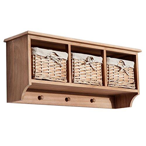 HOMCOM Entryway Coat Rack Wall Mounted Shelf w/Wicker Basket and Hooks (3 Baskets, Light Brown)