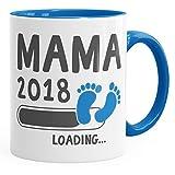 MoonWorks Kaffee-Tasse Mama 2018 Loading Geschenk-Tasse für Werdende Mama Schwangerschaft Geburt Baby Tee-Tasse Blau Unisize