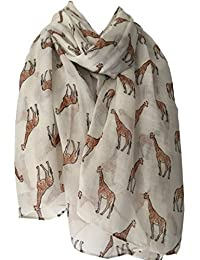 Purple Possum Giraffe Scarf, Cream Beige Brown Giraffes, Ladies Animal Print Wrap