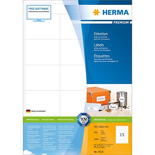 Preisvergleich Produktbild Herma 4618 Universal-Etiketten (70 x 50,8 mm auf DIN A4 Premium Papier matt) 3.000 Stück auf 200 Blatt, weiß, bedruckbar, selbstklebend