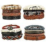 Milacolato Tressé Bracelets en Cuir pour Hommes Femmes Corde Bracelet Manchette Vintage Bracelets Wrap Set Réglable
