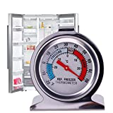 #9: HitTime Refrigerator Freezer Thermometer Fridge DIAL Type Stainless Steel Hang Stand