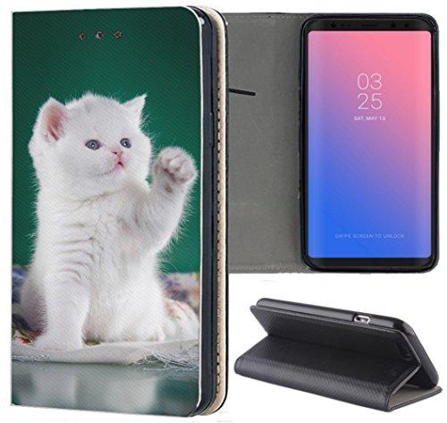 Samsung Galaxy S3 / S3 Neo Hülle Premium Smart Einseitig Flipcover Hülle Samsung S3 Neo Flip Case Handyhülle Samsung S3 Motiv (1428 Katze Katzen Baby Kätzchen Weiß Grün) Logo Samsung S3 Case