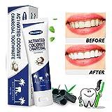 Kokosnussöl Aktivierte Zahnpasta, Aufhellung Fluorid freie Zahnpasta, geeignet für Kinder & Erwachsene effektiv zerstört schlechten Atem, entfernen Kaffeeflecken und zahnflecken