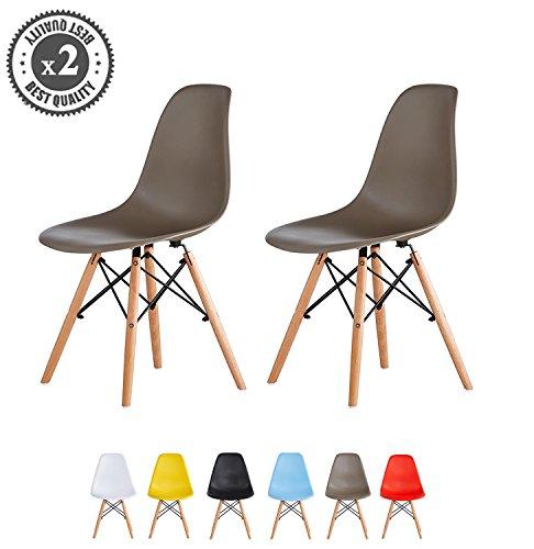 MCC Retro Design Stühle LIA im 2er Set, Eiffelturm inspirierter Style für Küche, Büro, Lounge, Konfernzzimmer etc., 6 Farben, KULT (taupe) (Retro-design)