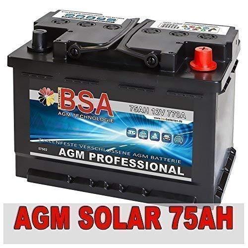Versorgungsbatterie 75Ah 12V AGM Gel Solarbatterie Wohnmobil Mover Boot Batterie