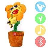 Chanter et danser fleur enchanteur tournesol avec saxophone peluche peluche jouets drôles jouets électriques pour les enfants cadeau de Noël
