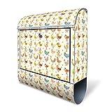 BANJADO Design Briefkasten mit Zeitungsfach, 2 Schlüssel, A4 Einwurf, silber pulverbeschichtet, mit Motiv Lustige Vögel