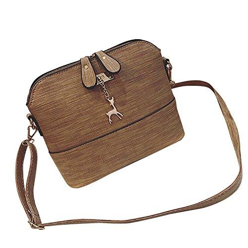 TUDUZ Schultertasche Damen Messenger Bags Vintage Kleine Shell Leder Handtasche Casual Paket (Khaki)
