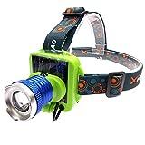 Kuqiwu Faro a LED Lampada Frontale Ricaricabile USB Headlight Lighting 3 modalità LED Sun Power Head Lampada Torcia per Campeggio