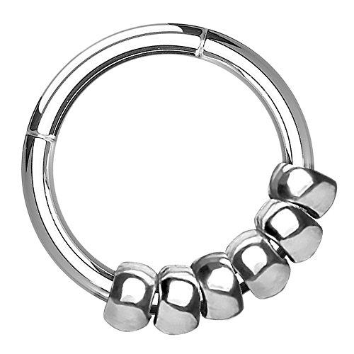 Piersando Universal Piercing Ring Clicker für Septum Tragus Helix Ohr Nase Lippe Brust Intim Tribal mit beweglichem Beads Ringe Anhänger Silber