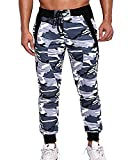 MODCHOK Homme Pantalon Jogging Sarouel Camouflage Sweat Pants Combat Sport Fit S