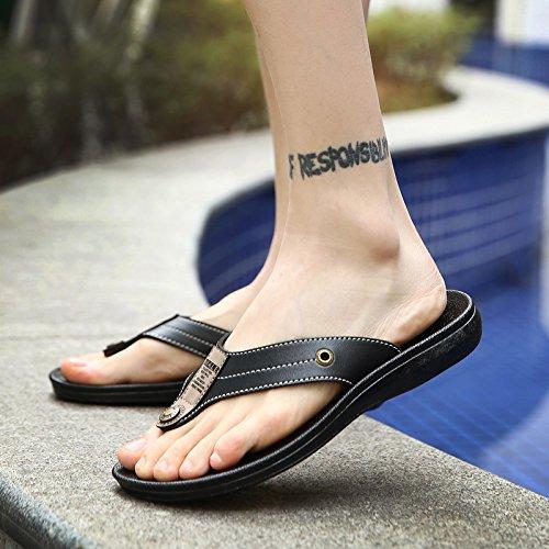 Tongs pour hommes Men's portable, chaussons, les pieds, les chaussures de plage d'été, loisirs, les hommes sandales tendance F92 black
