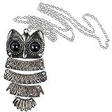 Tery Tägliches Leben liefert Strass Eule Halskette für Frauen, Fashion Vintage Owl Anhänger Lange Halskette Kette, Silber