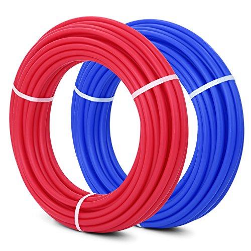 VEVOR Pex Tubing 1/2 Inch 100ft Non Oxygen Barrier Pex Tubing Rossi e Blu Calore Radiante PEX Residenziale e Commerciale per Acqua Portatile Applicazioni (2 rotoli di 1/2 Inch 100ft) - 0.5 Tubing