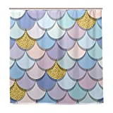 BALII Meerjungfrau Schwanz mit Gold Glitzer Vorhang für die Dusche 182,9x 182,9cm Polyester Wasserdicht mit 12Haken für Badezimmer