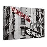 Bilderdepot24 Kunstdruck - Broadway Straßenschild - Bild auf Leinwand - 60x50 cm einteilig - Leinwandbilder - Bilder als Leinwanddruck - Wandbild Städte & Kulturen - USA - New York