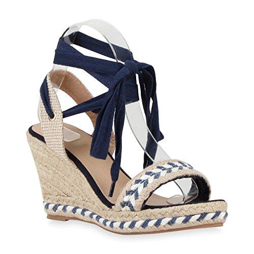 Senhoras Elegantes Strass Sandálias Bast Mulas Cunhas Azul Escuro