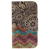 Coque iPhone 4 / 4S en Cuir,iPhone 4 / 4S Housse de Protection,Meet de Apple iPhone 4 / 4S Pliable Magnetique Portefeuille Wallet Silicone Back Étui avec Lanyard,Wallet / Case / Housse, Coque de protection en silicone TPU,Bookstyle Painting Rabat Shell Couvercle Housse Motif Flip Cover Clapet Case avec Fonction de Support et porte carte pour iPhone 4 / 4S[fleur vague]
