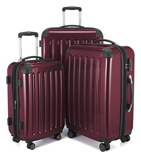 HAUPTSTADTKOFFER - Alex - Set di 3 valigie, TSA, Nero brillante, (S, M & L), 235 litri, Colore  Bordeaux