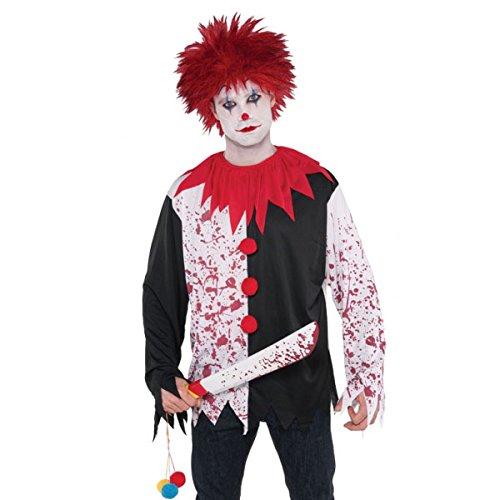 Herren Halloween, Blutige Splatter Evil Clown Kostüm Top Shirt