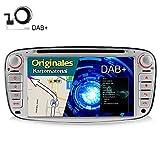 A-Sure 7 Zoll Doppel 2 Din Autoradio Navi DVD GPS Bluetooth FM Radio RDS Mirrorlink Für Ford MONDEO FOCUS C-MAX / S-MAX GALAXY KUGA mit DAB Antenne original Kartematerial Farbe: Silber (49 europäische Länder) W4FFSAQ (DAB Antenne mitgeliefert)