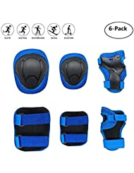 COOLGO Child Kids Protective Gear Set, Knee Pads Elbow Pads Wrist Guards 6 pcs for Multi Sports Skateboard Inline Roller Skates Cycling Biking BMX Bicycle