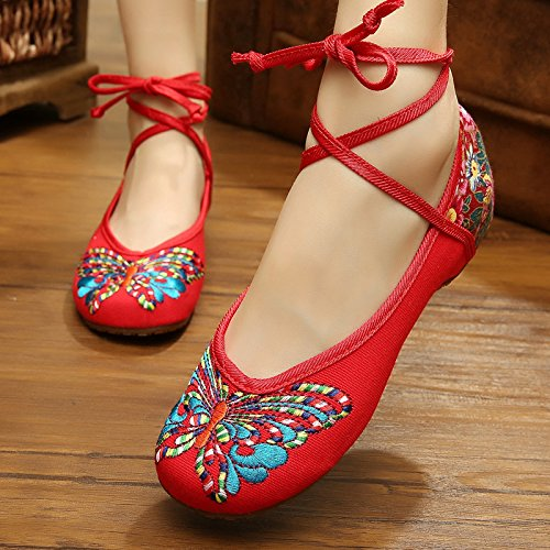 ZQ Gestickte Schuhe, Sehnensohle, ethnischer Stil, Femaleshoes, Mode, bequem red.