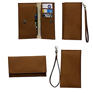 Jo Jo A5 G8 Leather Wallet Universal Pouch Cover Case For Fly Mobile DS 110i Brown