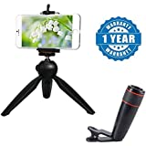 Drumstone 228 Mini Tripod Stand With Phone Clip Holder With 12x Zoom Mobile Phone Telescope Lens Optical Zoom Camera Compatible With Xiaomi, Lenovo, Apple, Samsung, Sony, Oppo, Gionee, Vivo Smartphones (One Year Warranty)