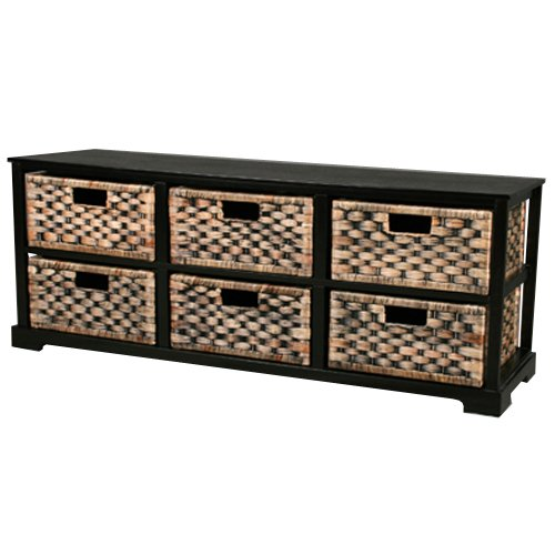 Miami - 6 Drawer Storage Sideboard - Brown / Black