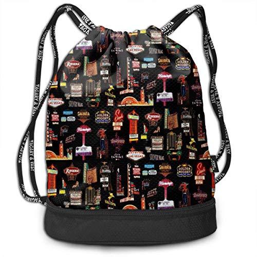 Las Vegas Skyline Drawstring Bag Reisen Schwimmen String Bag große Kapazität Beam Rucksack, Home Travel Storage Verwenden Geschenk für Männer & Frauen, Mädchen Jungen
