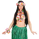 Amakando Hula Hawaikette mit Blütenkette, Kopfschmuck und Armband Blumenschmuck Leis Karibik Blumenkette Beachparty Sommerparty Outfit Hawaii Kostüm-Set