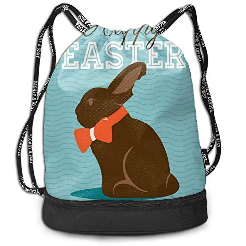LULABE Printed Drawstring Backpacks Bags,Chocolate Bunny with An Orange Bow Tie On A Wavy Stripes Background,Adjustable String Closure White Stripe Bow Tie