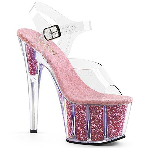 Pleaser Ado708g/C/S, Sandales Plateforme Femme Clr/B. Pink Glitter Inserts