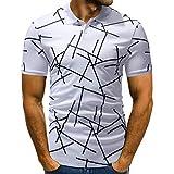 Riou T-Shirts Poloshirt Herren Slim Fit, Männer Polo Shirts Kurzarm Polokragen Polohemd Knöpfe Design halbe Patchwork Freizeit T-Shirt Casual Tee (L, Weiß)