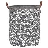 Sealskin Wäschekorb Triangles, Wäschesammler aus Stoff mit Griffen in Lederoptik, Farbe: Grau, 50 x 40 x 40 cm